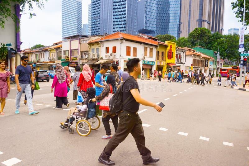 Korsning för kineskvarterfolkväg, Singapore arkivfoto