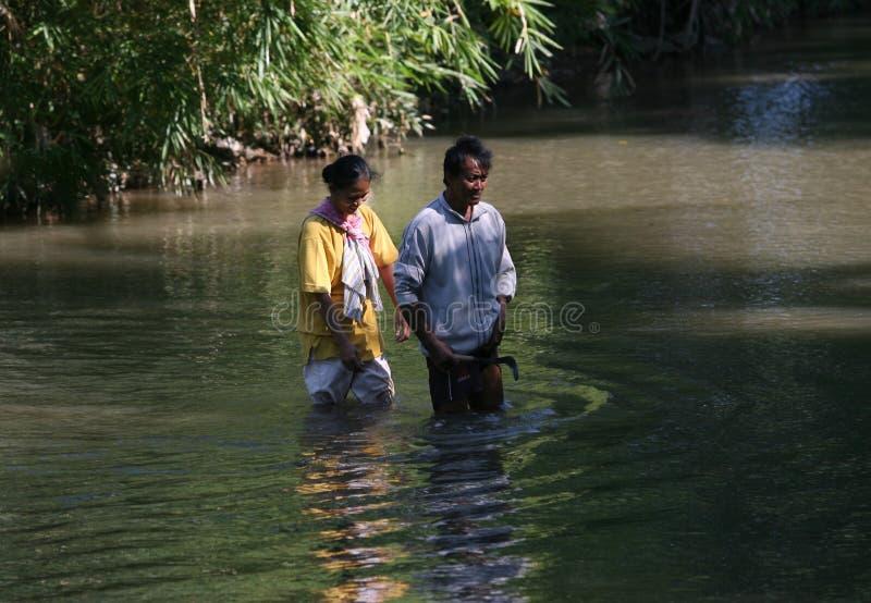 Korsning flod fotografering för bildbyråer