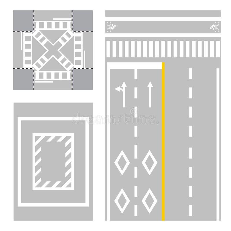 Korsning gata tecken för säkerhetszon på gatan vektor illustrationer