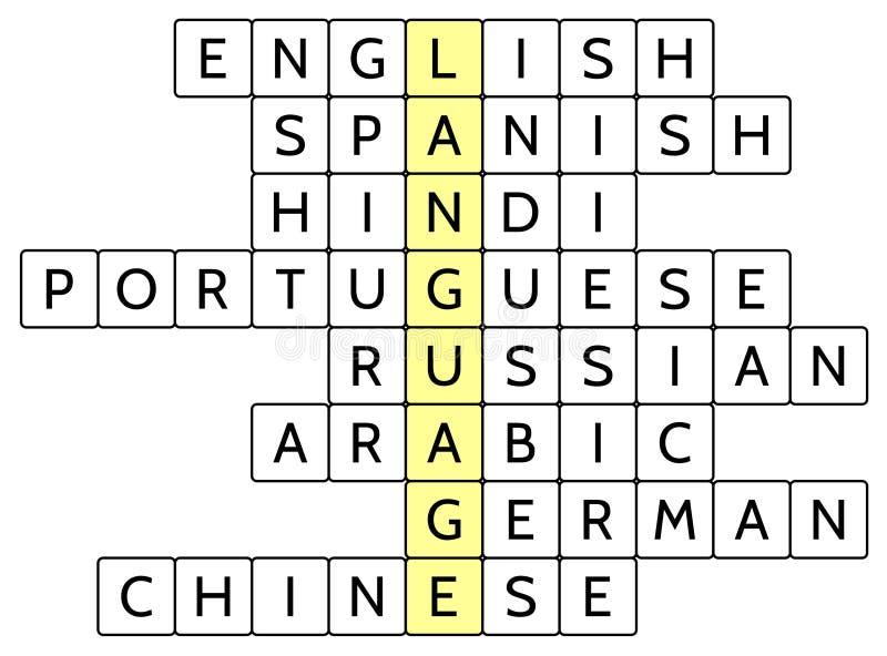 Korsordpussel för ordspråket och 8na av bredast talspråkarna av världen stock illustrationer