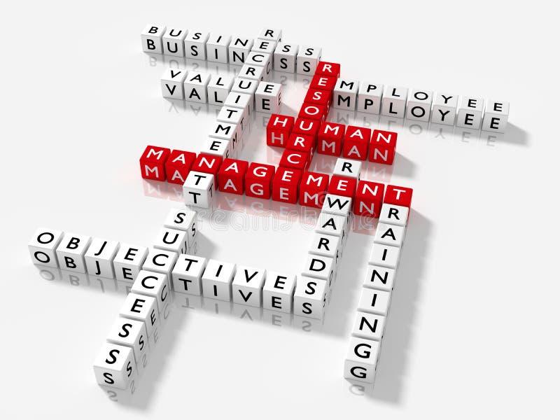 Korsordpusslet med ledning för HRM-nyckelordpersonalresursen lurar stock illustrationer