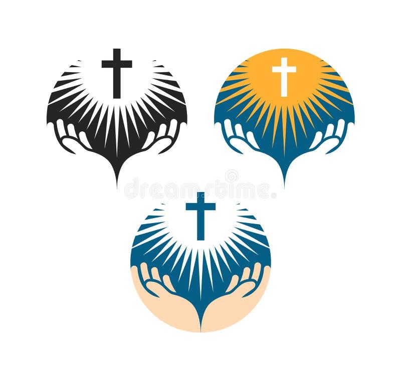 Korssymbol Korsfästelse av Jesus Christ symboler Kyrklig logo stock illustrationer