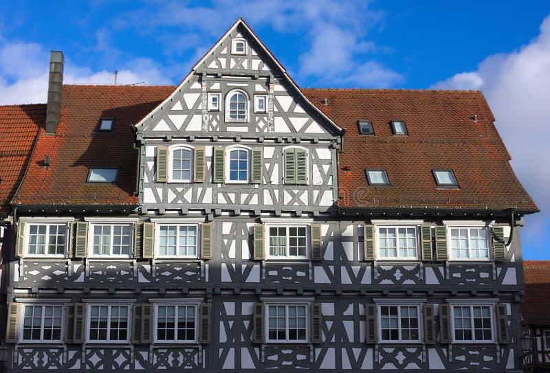 Korsvirkes- fasader-III-Schorndorf arkivbild