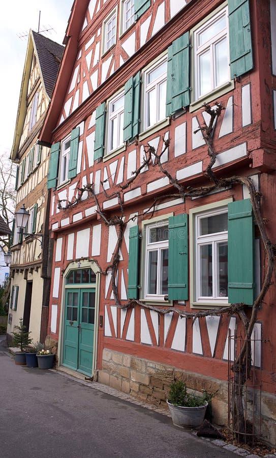 Korsvirkes- fasader-JAg-Schorndorf royaltyfria foton
