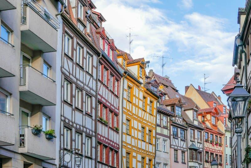 Korsvirkes- hus Nuremberg arkivbild
