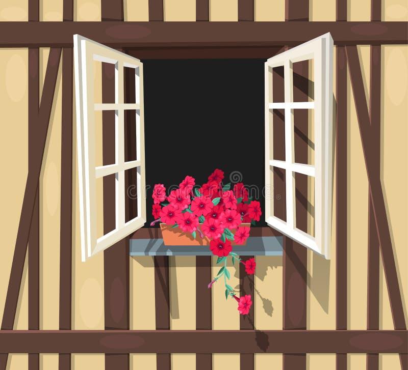 Korsvirkes- husfönster stock illustrationer