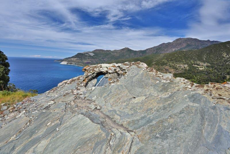 Korsykanina wybrzeże w nakrętce Corse obrazy royalty free