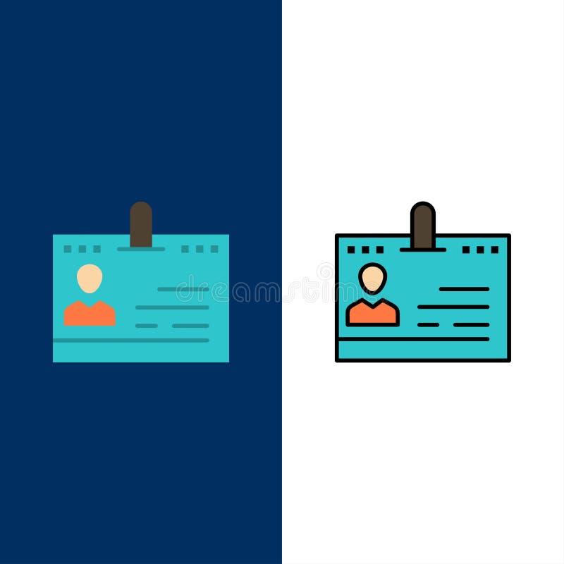 Kort affär, kontakter, ID, kontor, folk, telefonsymboler Lägenheten och linjen fylld symbol ställde in blå bakgrund för vektorn royaltyfri illustrationer