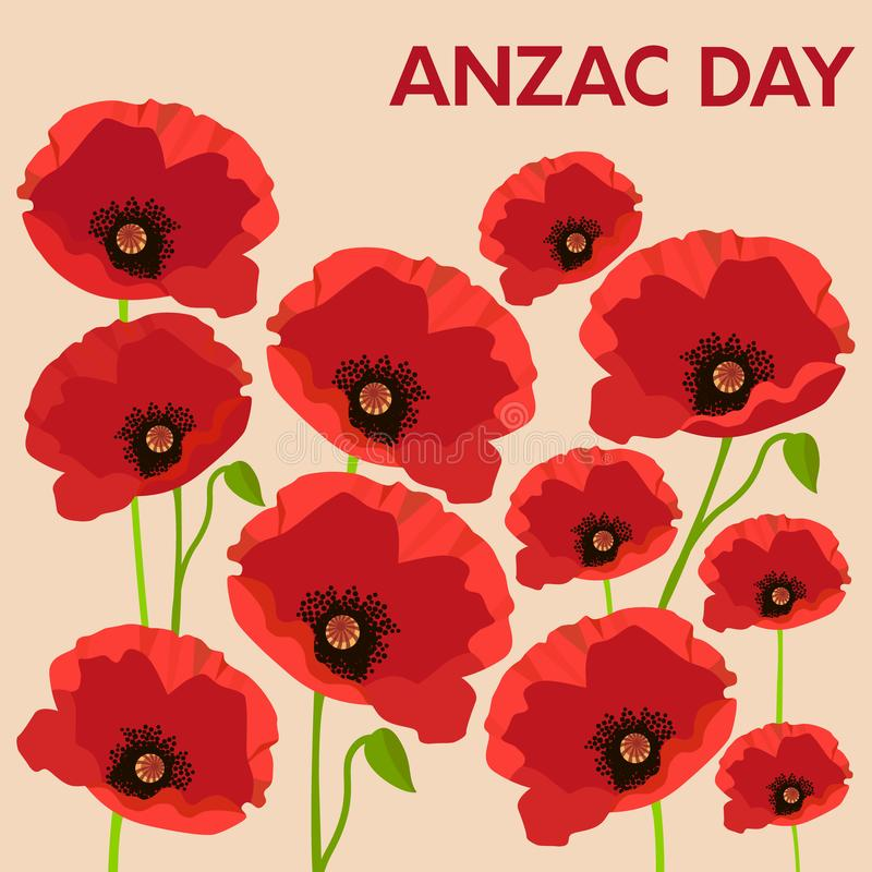 Kort av Anzac Day med vallmo royaltyfri illustrationer