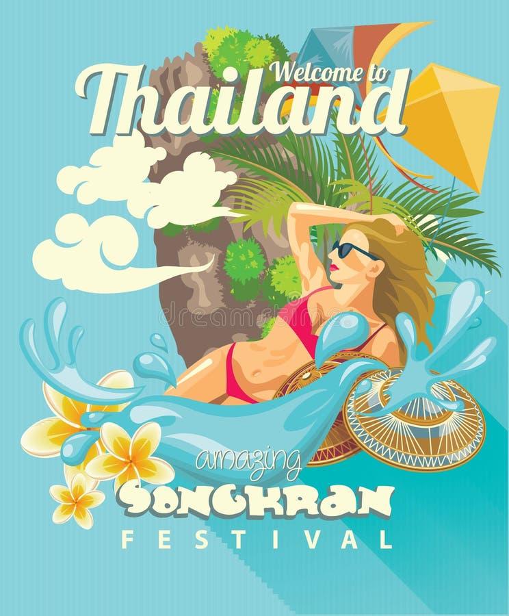 Kort av den Songkran festivalen i Thailand med den härliga kvinnan Thailändska ferier stock illustrationer