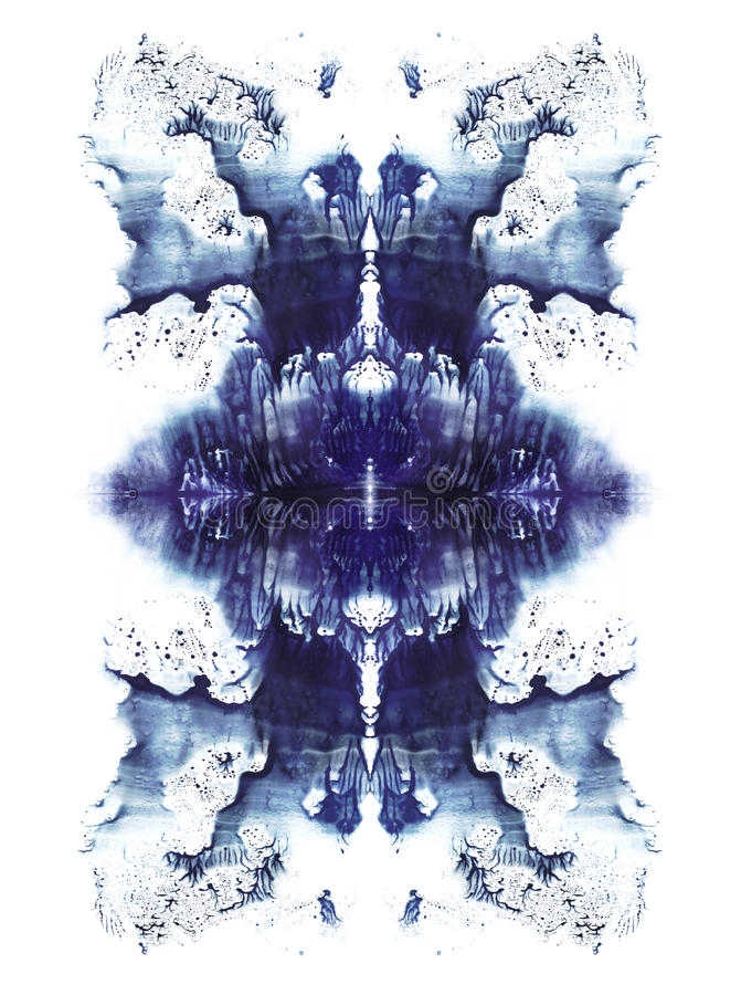 Kort av rorschachinkblotprovet slösar den symmetrycal fläcken för vattenfärgen royaltyfri illustrationer