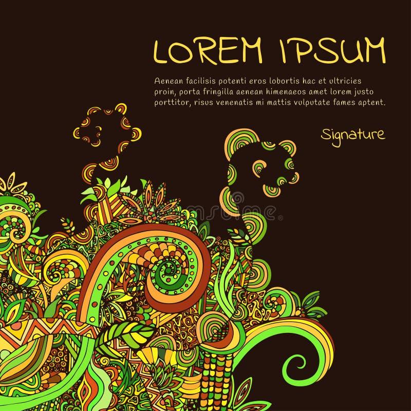 Kort eller inbjudan, räkning Boho prydnad dekorativ elementtappning Abstrakt blom- växt- naturlig växtmodell, tryck ethnic vektor illustrationer