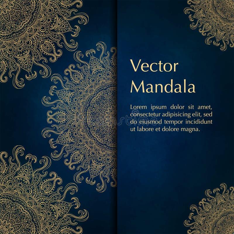 Kort eller inbjudningar med mandalamodellen royaltyfri bild
