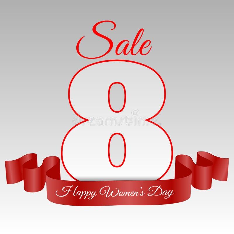 Kort eps 10 för marsch för Sale kvinnadag 8 vektor illustrationer