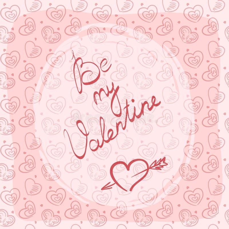 Kort, etikett eller klistermärke för hälsning för dag för valentin` s med den handskrivna inskriften royaltyfri bild