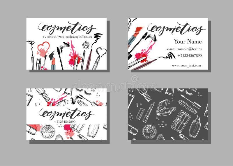 Kort för affär för makeupkonstnär Vektormallen med makeupobjektmodellen - borsta, rita, ögonskugga, läppstift och mascara stock illustrationer