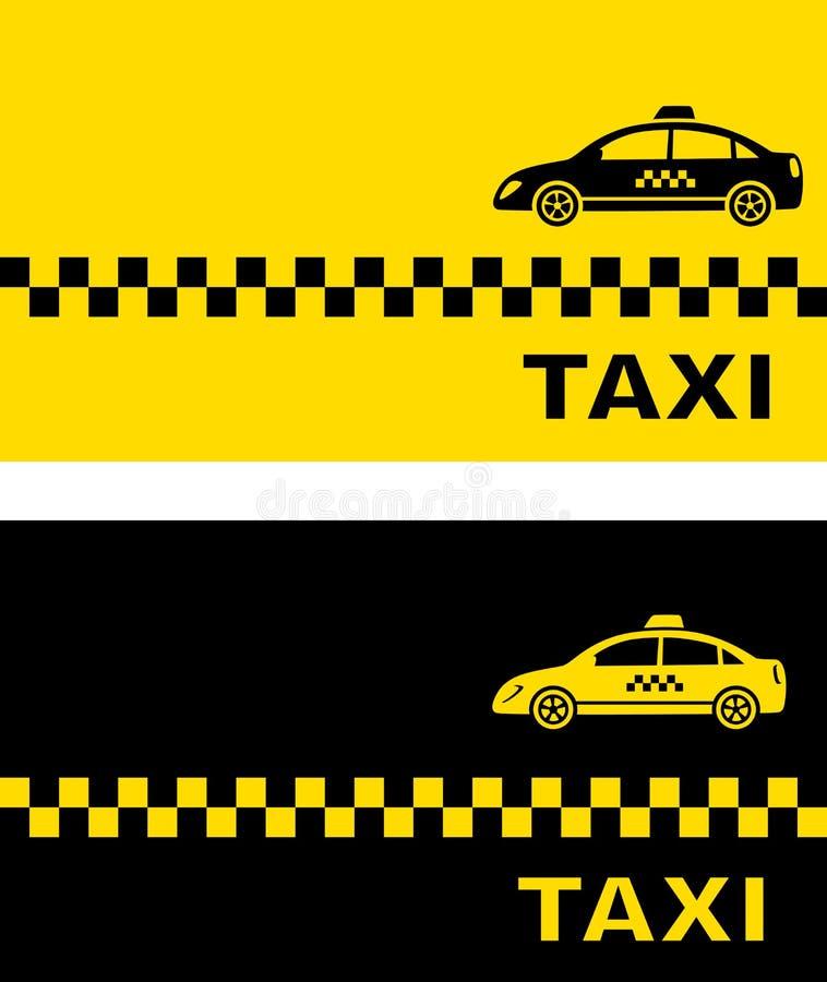 Kort för affär två med taxibilen stock illustrationer