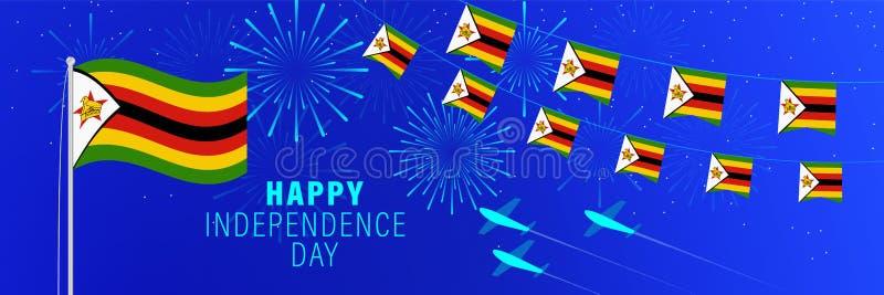 Kortför April 18 Zimbabwe självständighetsdagenhälsning Berömbakgrund med fyrverkerier, flaggor, flaggstången och text royaltyfri foto