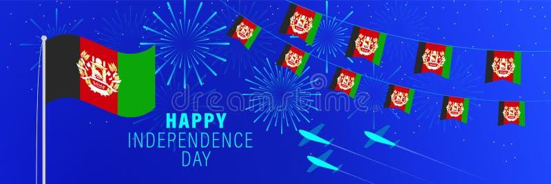 Kortför Augusti 18 Afghanistan självständighetsdagenhälsning Berömbakgrund med fyrverkerier, flaggor, flaggstången och text arkivfoton