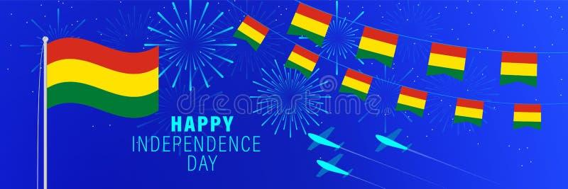 Kortför Augusti 6 Bolivia självständighetsdagenhälsning Berömbakgrund med fyrverkerier, flaggor, flaggstången och text stock illustrationer