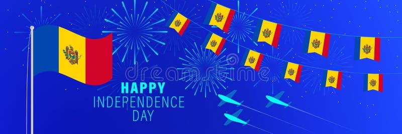 Kortför Augusti 27 Moldavien självständighetsdagenhälsning Berömbakgrund med fyrverkerier, flaggor, flaggstången och text stock illustrationer