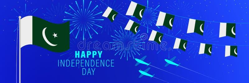 Kortför Augusti 14 Pakistan självständighetsdagenhälsning Berömbakgrund med fyrverkerier, flaggor, flaggstången och text royaltyfri illustrationer