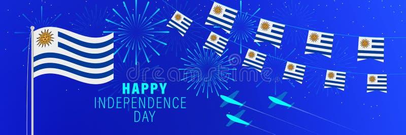 Kortför Augusti 25 Uruguay självständighetsdagenhälsning Berömbakgrund med fyrverkerier, flaggor, flaggstången och text royaltyfria foton