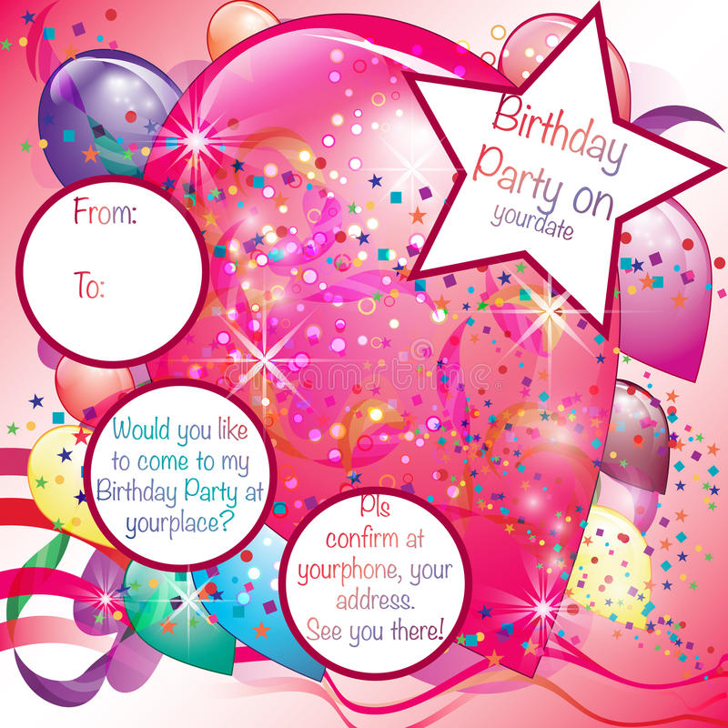 Kort för ballongpartiinbjudan för flicka vektor illustrationer