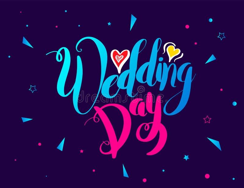 Kort för bokstäver för bröllopdag på rolig bakgrund royaltyfri illustrationer