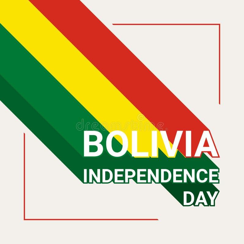 Kort för Bolivia självständighetsdagenhälsning med flaggan av Bolivia vektor illustrationer