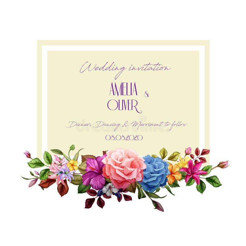 Kort för bröllop för blomma för ros för vektorvattenfärglilja vektor illustrationer