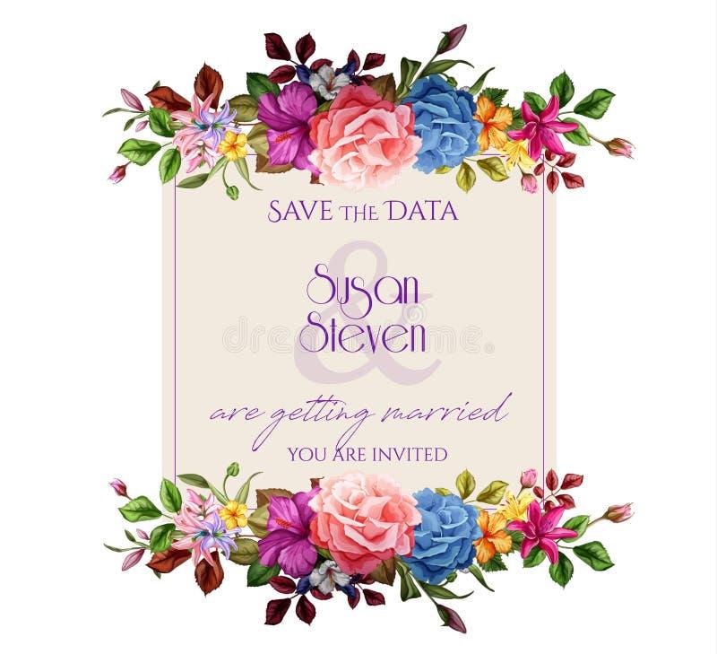 Kort för bröllop för blomma för ros för vektorvattenfärglilja stock illustrationer