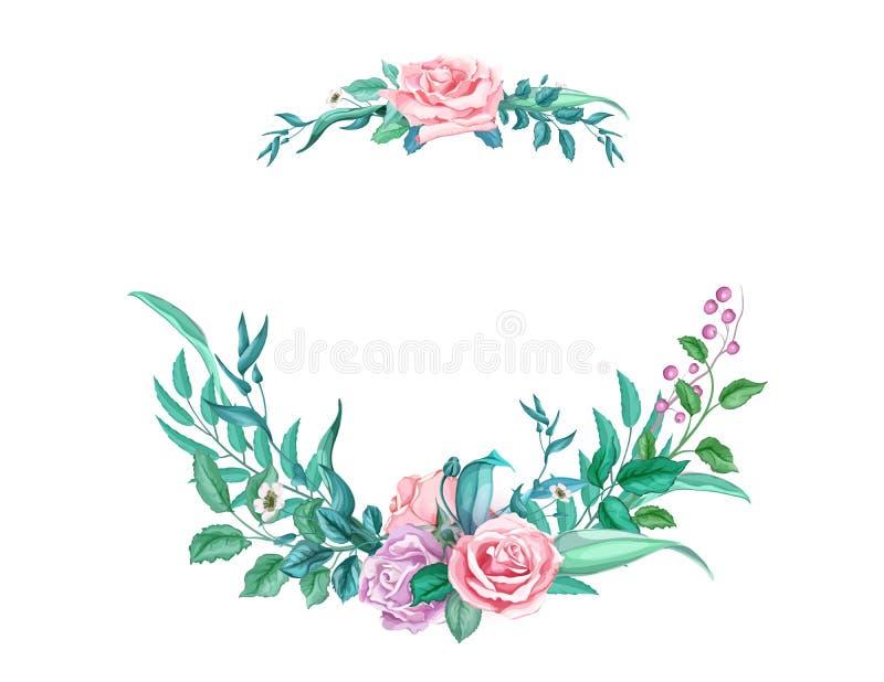 Kort för bröllop för blomma för ros för vektorvattenfärgtappning stock illustrationer