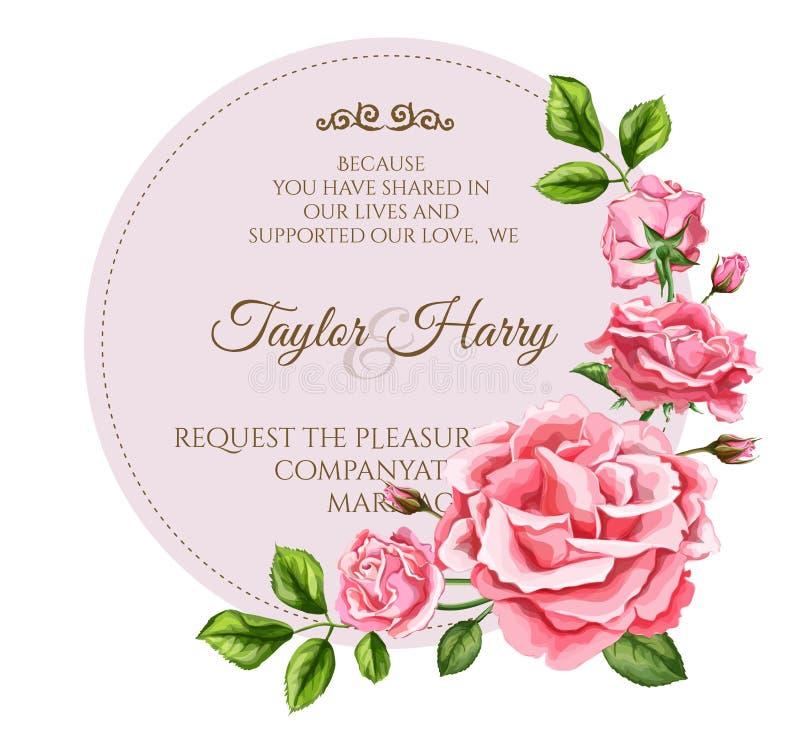 Kort för bröllop för blomma för vektorvattenfärgros royaltyfri illustrationer