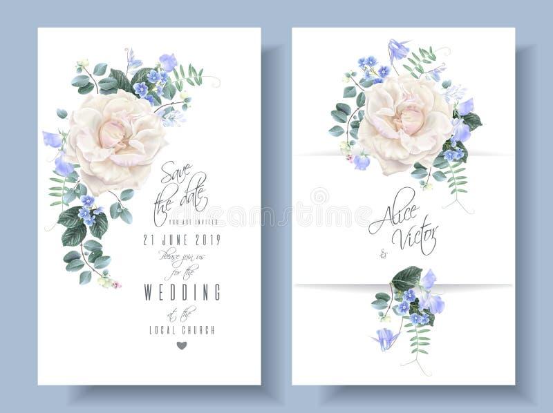 Kort för bröllop för vektortappning blom- med rosor vektor illustrationer