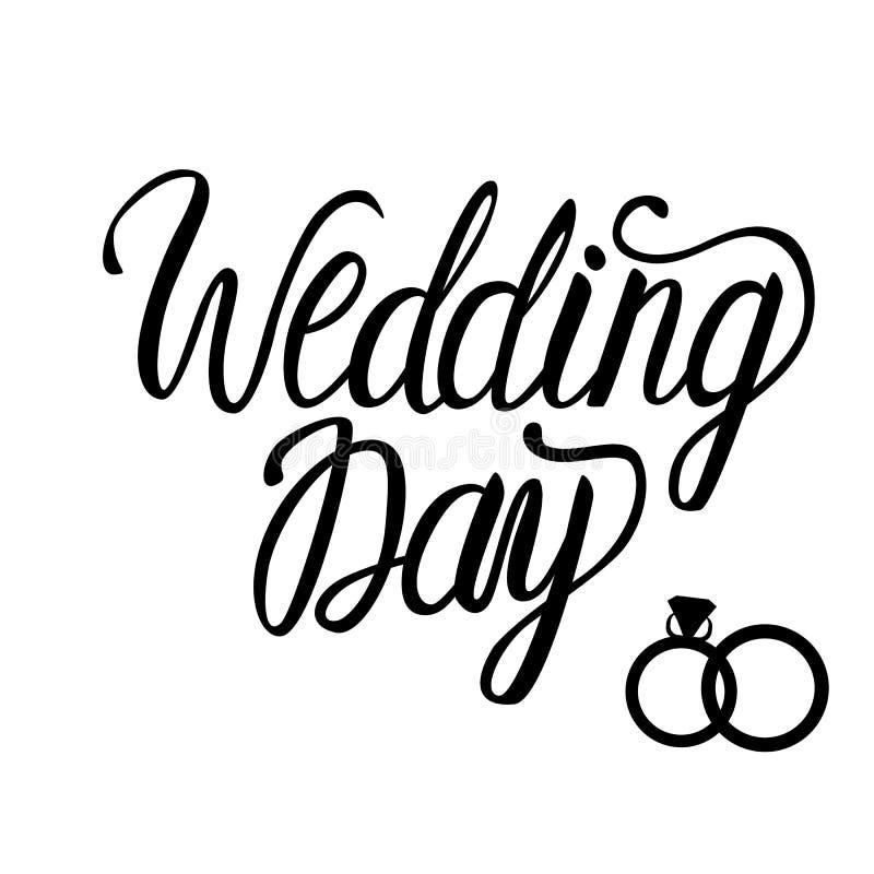 Kort för bröllopdag Svart för kalligrafi för vektorinskriftbokstäver som isoleras på vit stock illustrationer