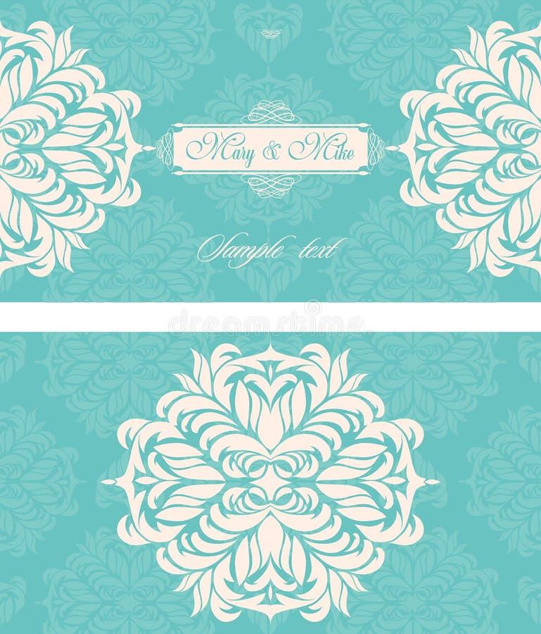 Kort för bröllopinbjudantappning med blom- och antika dekorativa beståndsdelar vektor illustrationer