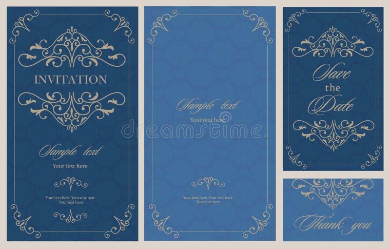 Kort för bröllopinbjudantappning med blom- och antika dekorativa beståndsdelar stock illustrationer