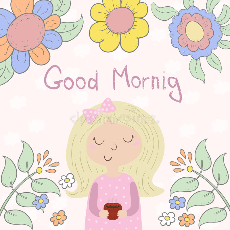 Kort för bra morgon med den gulliga unga flickan, kopp och också vektor för coreldrawillustration royaltyfri illustrationer