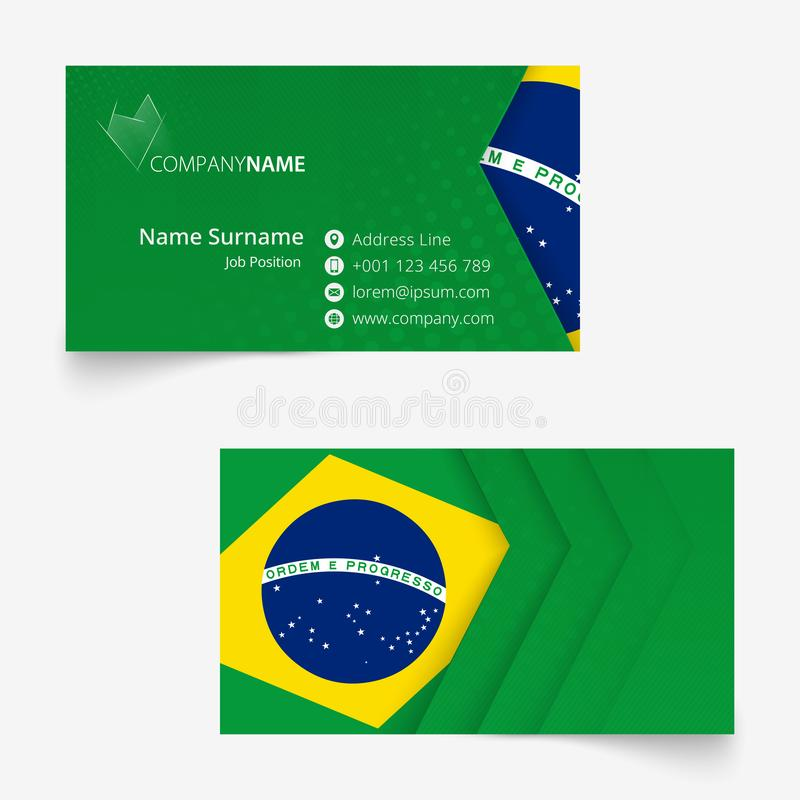 Kort för Brasilien flaggaaffär, för mmaffär för standart format 90x50 mall för kort royaltyfri illustrationer