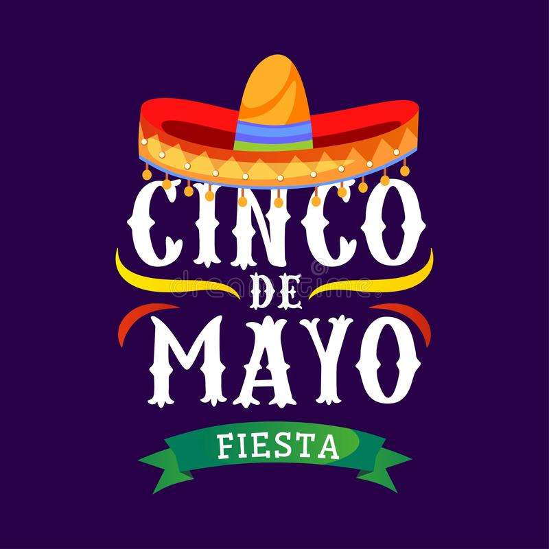 Kort för Cinco de mayo vektorhälsning med traditionella mexikanska sombrero- och krusidullbeståndsdelar 5 kan mexikanen semestra  stock illustrationer