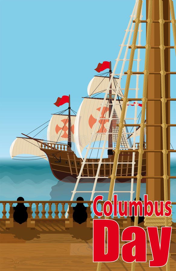 Kort för Columbus dag royaltyfri illustrationer