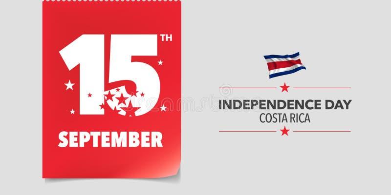Kort för Costa Rica lyckligt självständighetsdagenhälsning, baner, vektorillustration vektor illustrationer