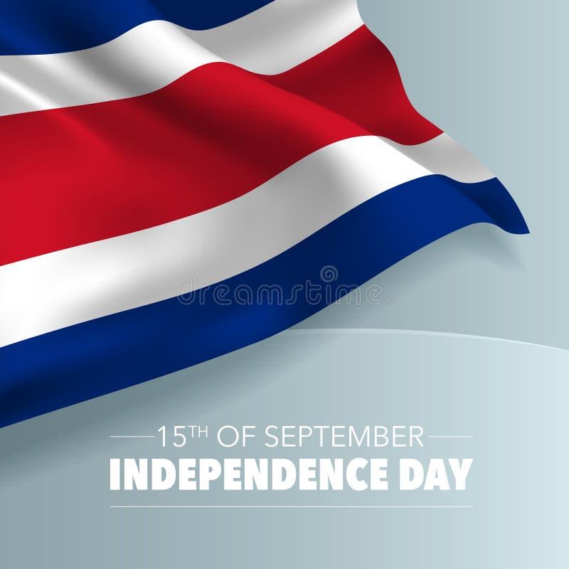 Kort för Costa Rica lyckligt självständighetsdagenhälsning, baner, vektorillustration stock illustrationer