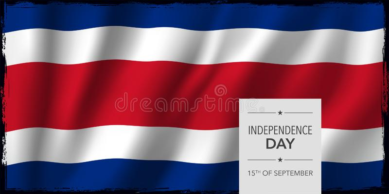 Kort för Costa Rica lyckligt självständighetsdagenhälsning, banervektorillustration royaltyfri illustrationer