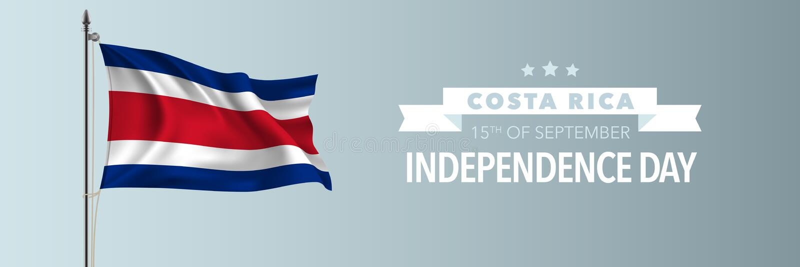 Kort för Costa Rica lyckligt självständighetsdagenhälsning, banervektorillustration vektor illustrationer