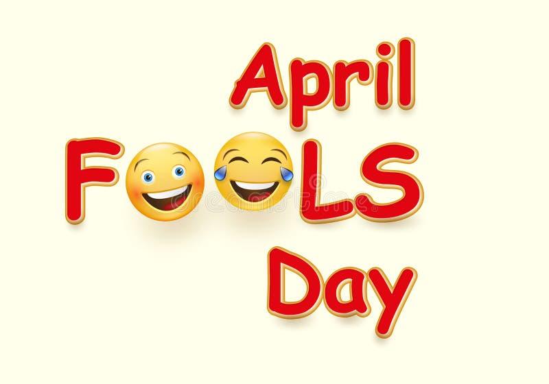 Kort för dag för April dumbom s - galet ansiktsuttryck på gul bakgrund vektor illustrationer