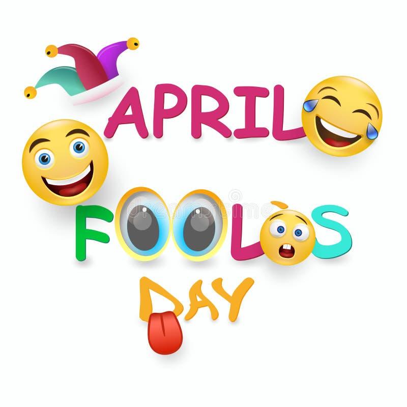 Kort för dag för April dumbom s - galet ansiktsuttryck på ljus färgad bakgrund stock illustrationer