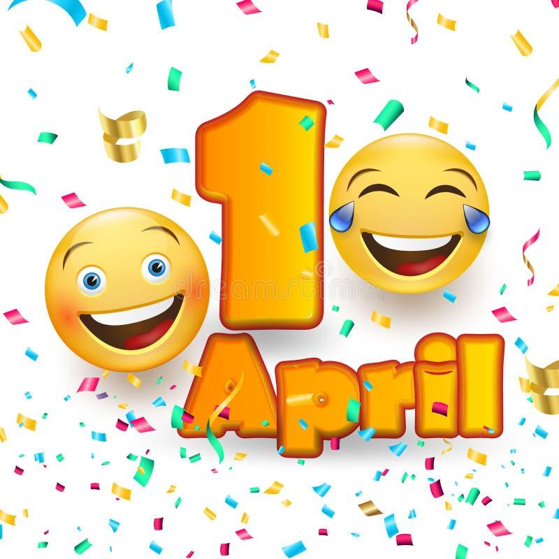 Kort för dag för April dumbom s - galet ansiktsuttryck på vit bakgrund stock illustrationer