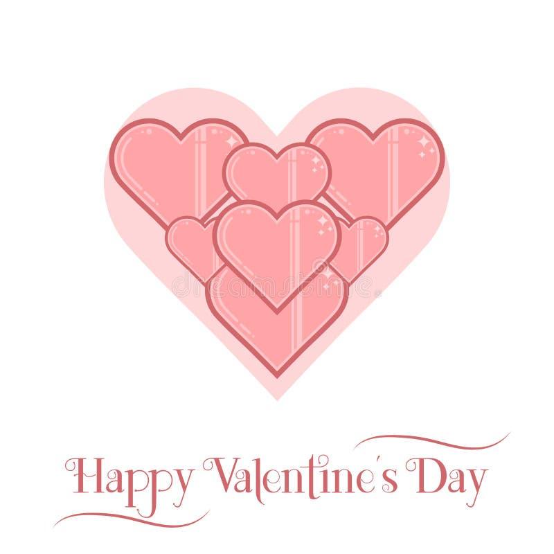 Kort för dag för valentin` s, lineartstil royaltyfri illustrationer